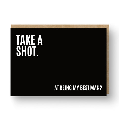'Take a Shot' Best Man / Groomsman Card Black