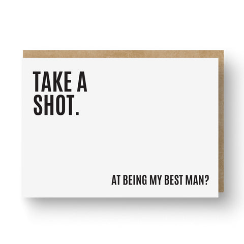 'Take a Shot' Best Man / Groomsman Card White