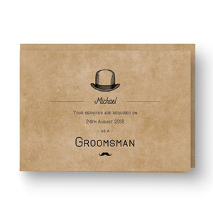 Kraft Gentleman Best Man / Groomsman Card