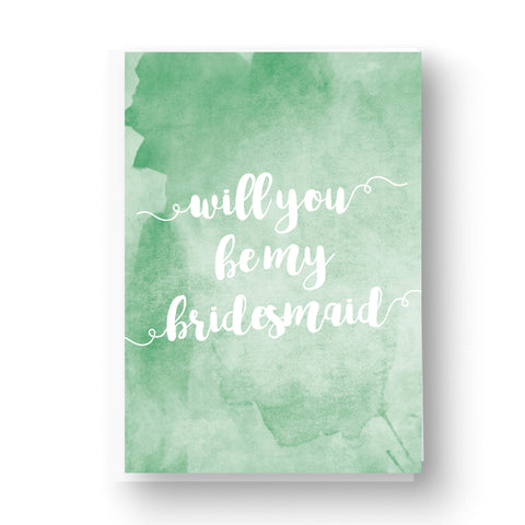 Green Watercolour Bridesmaid / Maid of Honour Card