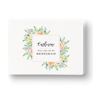 Floral Personalised Bridesmaid / Maid of Honour Card