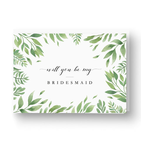 Greenery foliage will you be my bridesmaid card