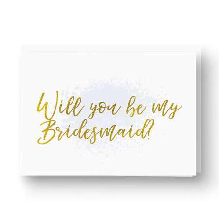 Grey and copper foil will you be my bridesmaid card
