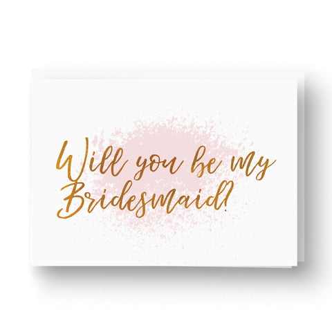 Blush and copper rose gold will you be my bridesmaid card