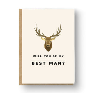 Brown Graphic Deer Best Man / Groomsman Card