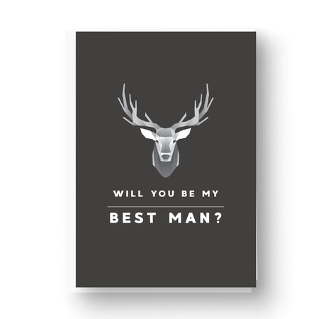 Grey Monochrome Graphic Deer Best Man / Groomsman Card
