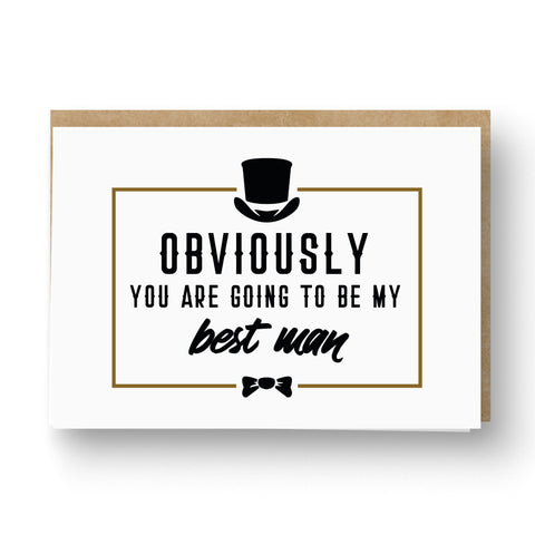 'Obviously' Best Man / Groomsman Card White and Kraft