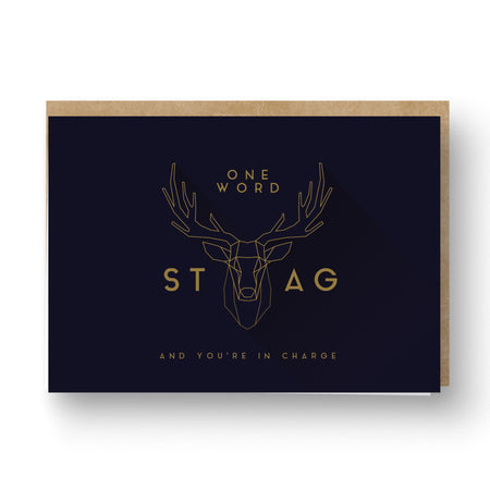 Stag Best Man / Groomsman Card Navy