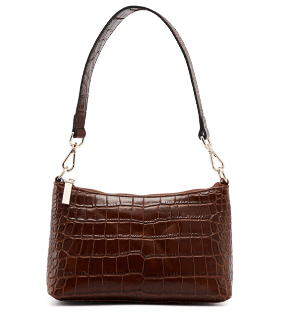 NAKEDVICE THE CHRISTY BROWN CROC EMBOSSED LEATHER BAG