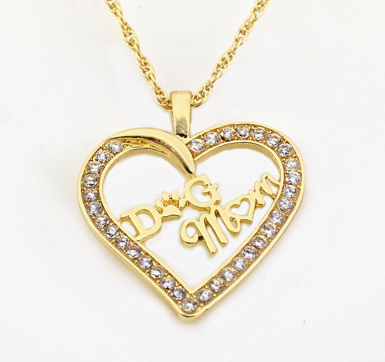 Dog Mom Heart Pendant Necklace - Gold or Silver with Zircon Stones