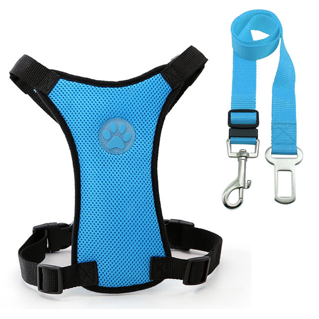Vehicle Safety Harness with Adjustable Straps and Soft Padding/Dog Walking Harness for Medium to Large Dogs