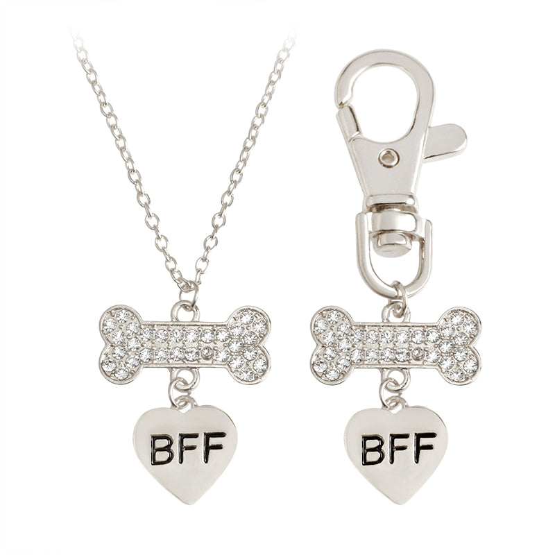 Dog Bone Heart Best Friends Forever Pendant Necklace Key chain