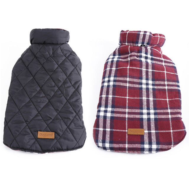 Waterproof Reversible Diamond-Quilted/ Plaid Water-Resistant Dog Jacket