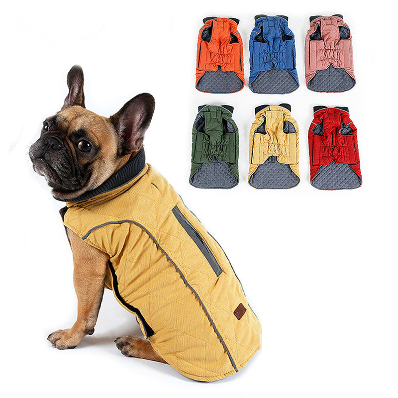 Water Repellent Diamond-Quilted Retro Style Dog Vest
