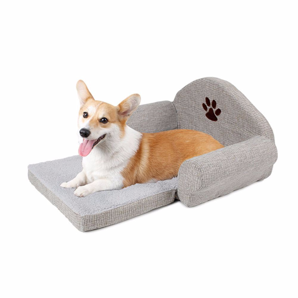 High Quality Pet Sofa - Grey with Paw Print Design