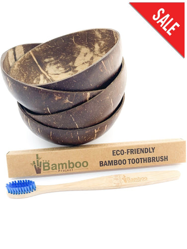 Coconut Bowls (Set Of 4) + Free Bamboo Toothbrush