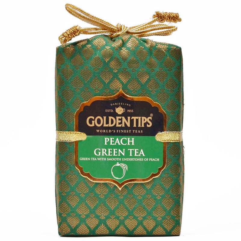 Peach Green Tea - Royal Brocade Cloth Bag - Golden Tips