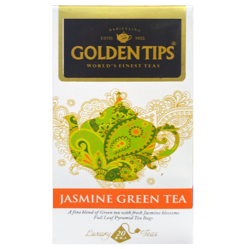 Jasmine Green Full Leaf Pyramid - Tea Bags - Golden Tips
