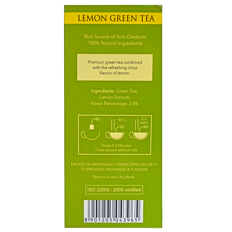 Lemon Green Envelope Tea - 20 Tea Bags (40gm). - Golden Tips