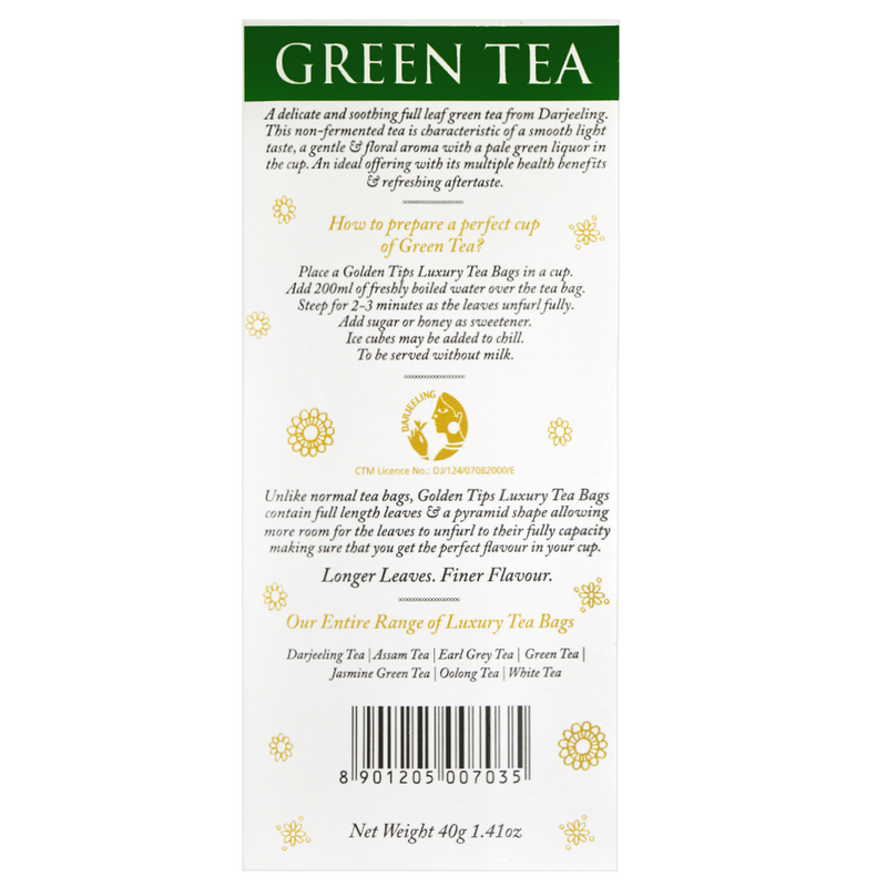 Green Full Leaf Pyramid - Tea bags - Golden Tips