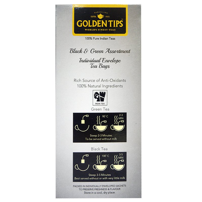 Golden Tips Black & Green Assortment Individual Envelope Tea Bags
