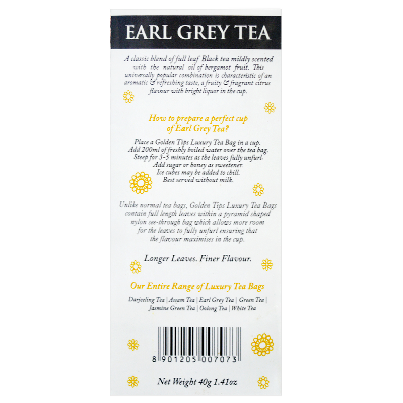 Earl Grey Full Leaf Pyramid -  Tea Bags - Golden Tips