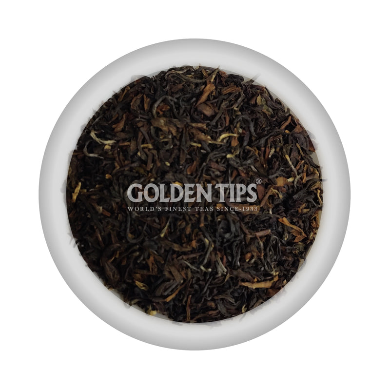 Silver-tipped Orthodox Darjeeling Black Tea in a Carved Wooden Box - Golden Tips