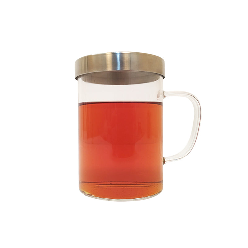 Glass Mug & Steel Lid & Fine Steel Mesh Infuser - Golden Tips