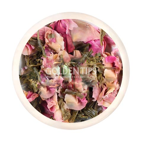 Green Blush Whole Leaf Rose Green Tea - Golden Tips