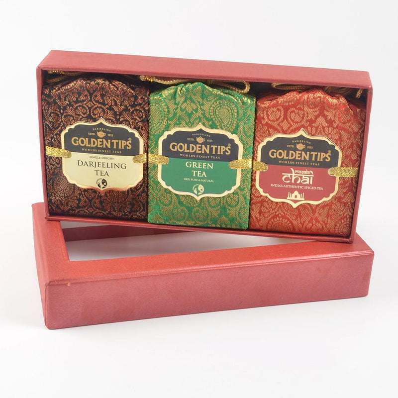 3-in-1 Handmade Paper Box - Darjeeling, Green & Masala Chai - Golden Tips