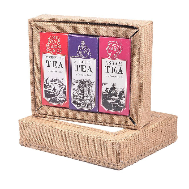 3-in-1 Delightful Teas (Darjeeling, Assam & Nilgiri) in Handcrafted Jute Box - Golden Tips