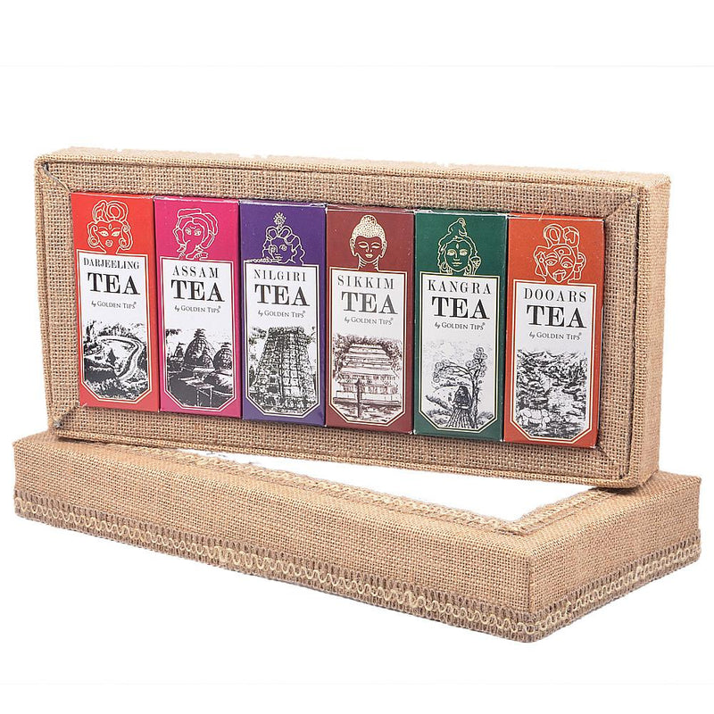 6-in-1 Delightful Teas (Darjeeling, Assam, Nilgiri, Sikkim, Kangra & Dooars) in Handcrafted Jute Box - Golden Tips
