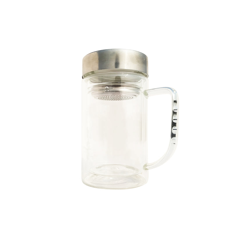 Glass Mug with Threaded Steel Lid & Steel Strainer - Golden Tips