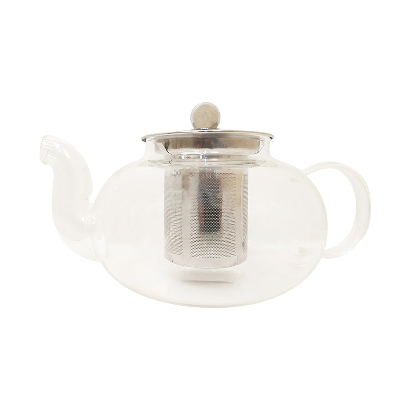 Glass Tea Pot with Spout  Fine Steel Mesh Infuser & Lid - Golden Tips