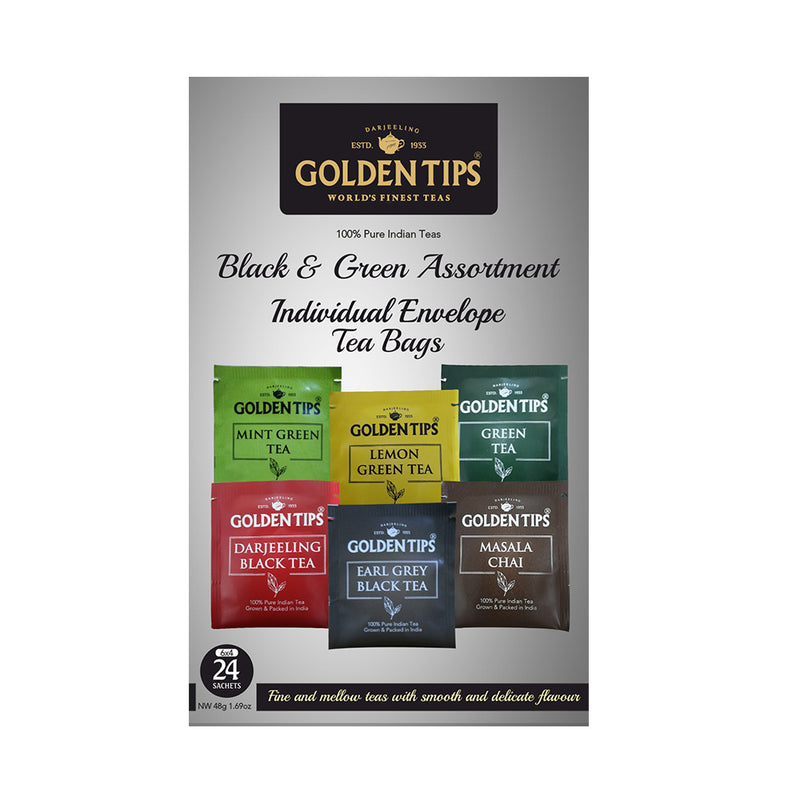 Golden Tips Black & Green Assortment Individual Envelope Tea Bags - Golden Tips