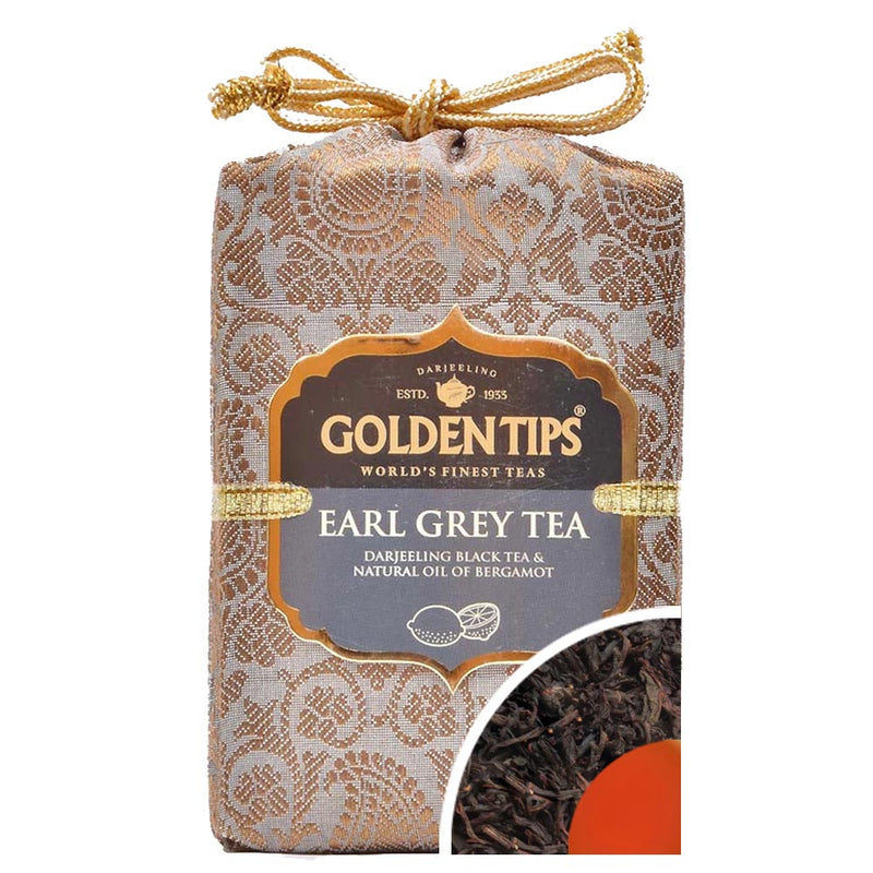 Earl Grey  Tea - Royal Brocade Cloth Bag - Golden Tips
