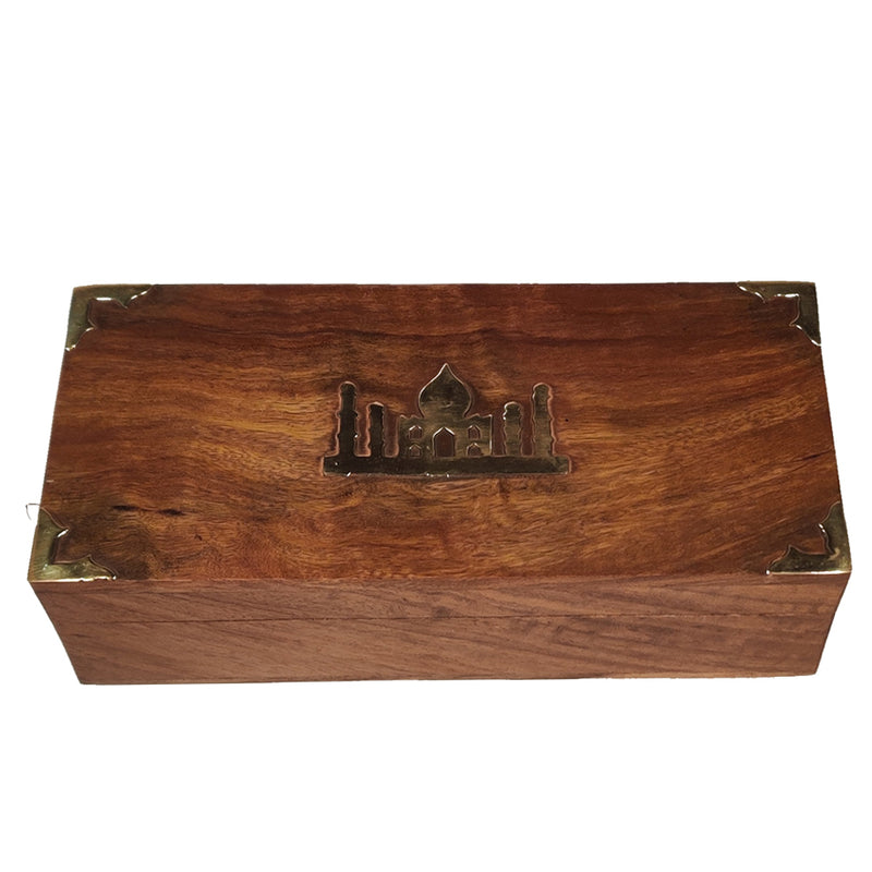 Premium Black & Green Darjeeling Teas in a Carved Wooden Box With Brass Work