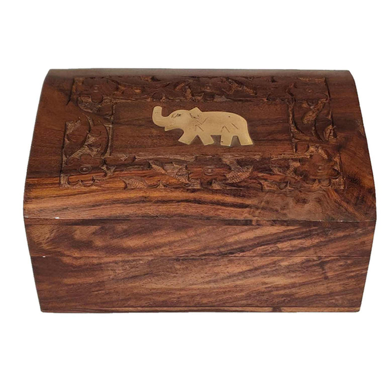 Silver-tipped Orthodox Darjeeling Black Tea in a Carved Wooden Box