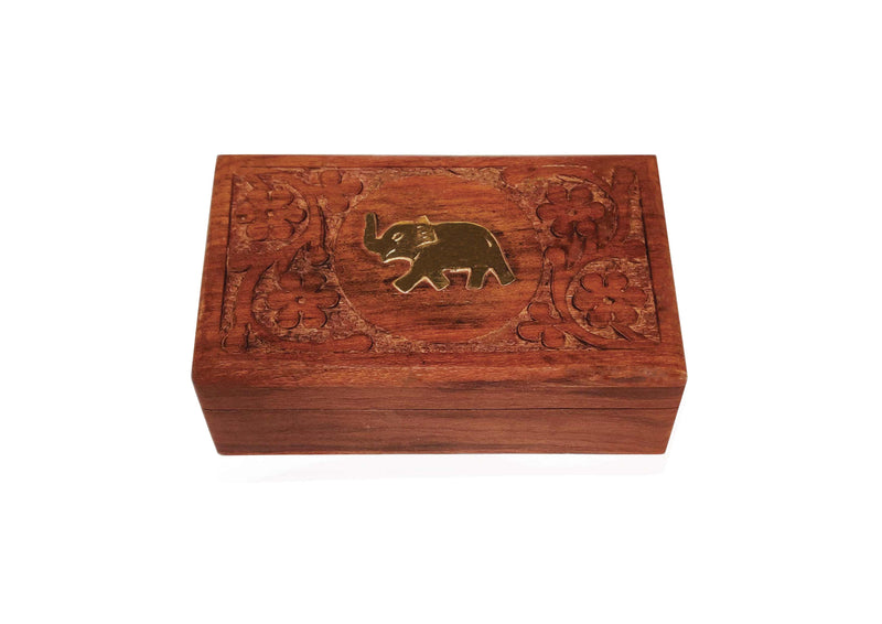 Premium Second Flush Darjeeling Tea in a Carved Wooden Box with Brass Elephant