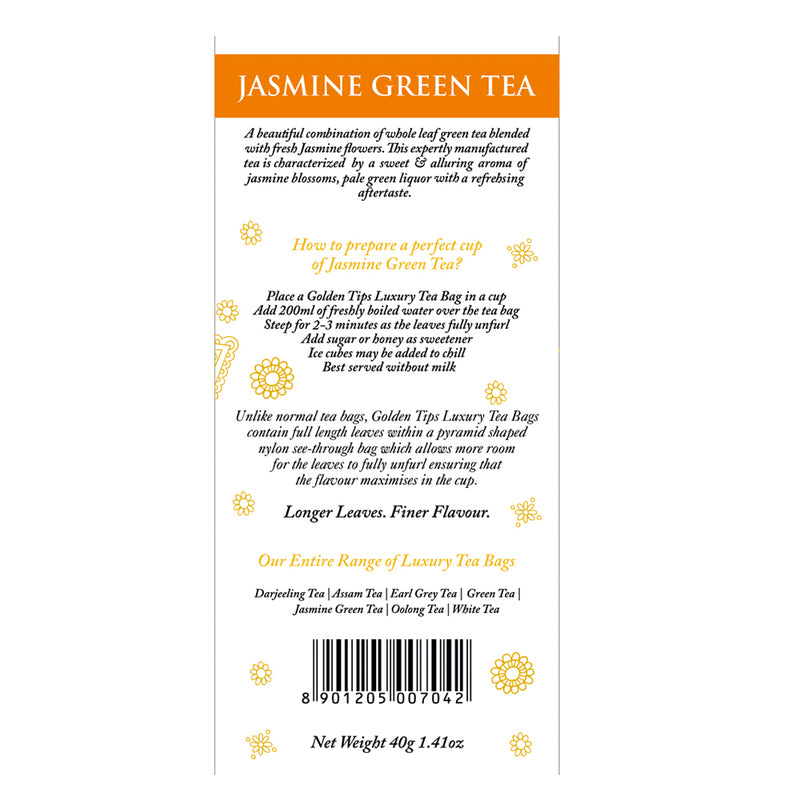 Jasmine Green Full Leaf Pyramid - 20 Tea Bags, 40gm.