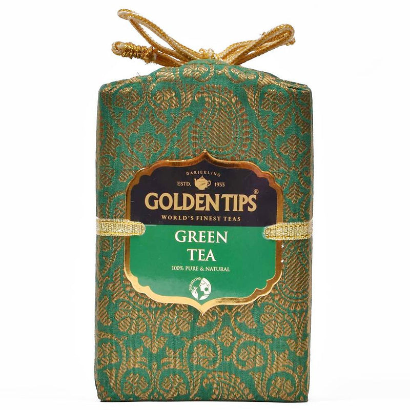 Pure Green Tea - Royal Brocade Cloth Bag - Golden Tips