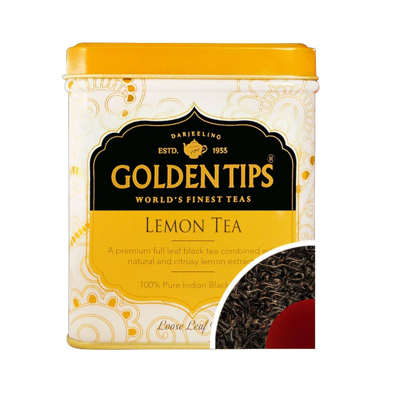 Lemon Flavoured Loose Leaf Black Tea Tin Can 3.53oz/100gm - Golden Tips