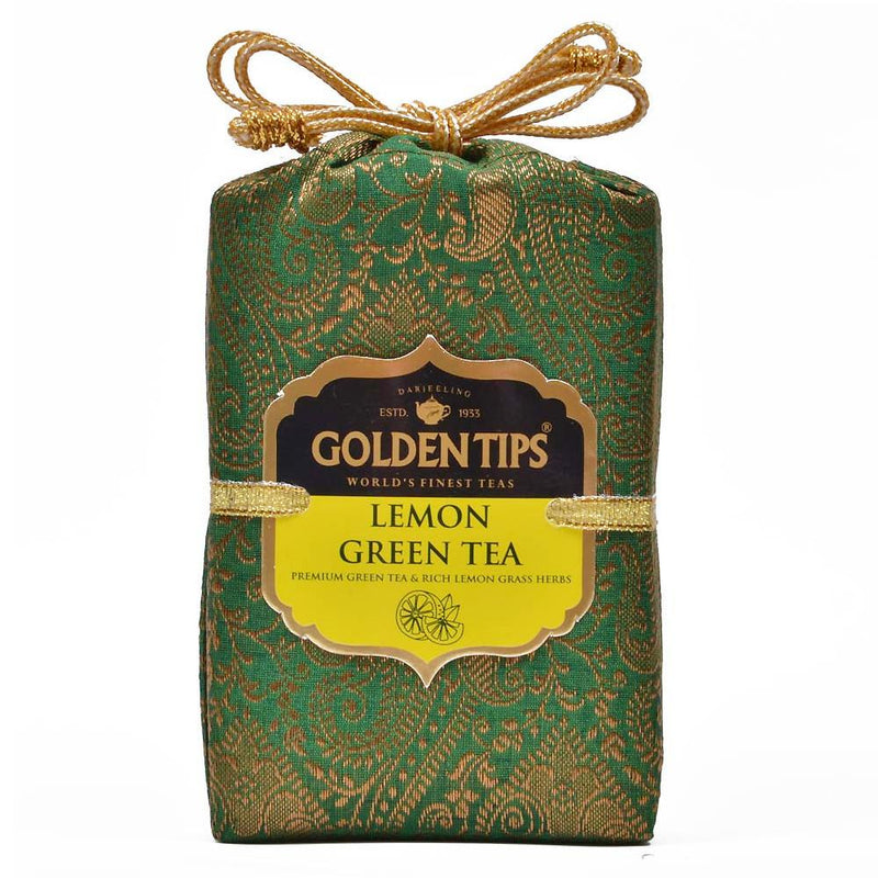 Lemon Green Tea - Royal Brocade Cloth Bag - Golden Tips