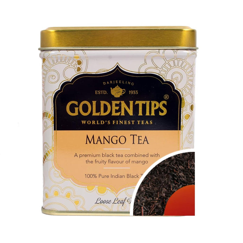Mango Flavoured Loose Leaf Black Tea - Tin Can 3.53oz/100gm - Golden Tips