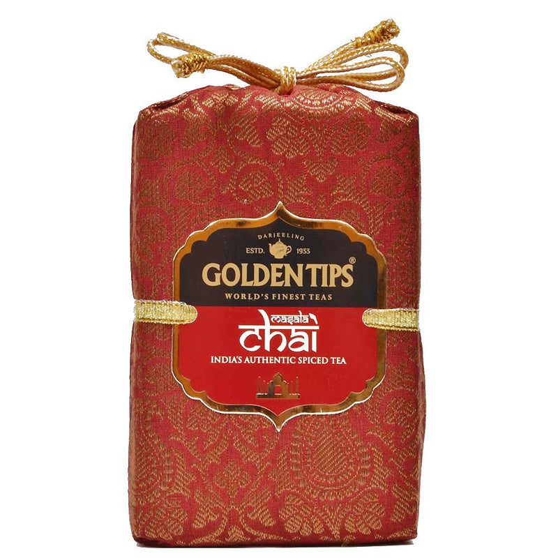Masala Chai India's Authentic Spiced Tea - Royal Brocade Cloth Bag - Golden Tips