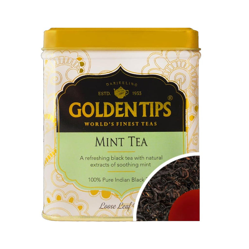 Mint Flavoured Loose Leaf Black Tea- Tin Can - Golden Tips