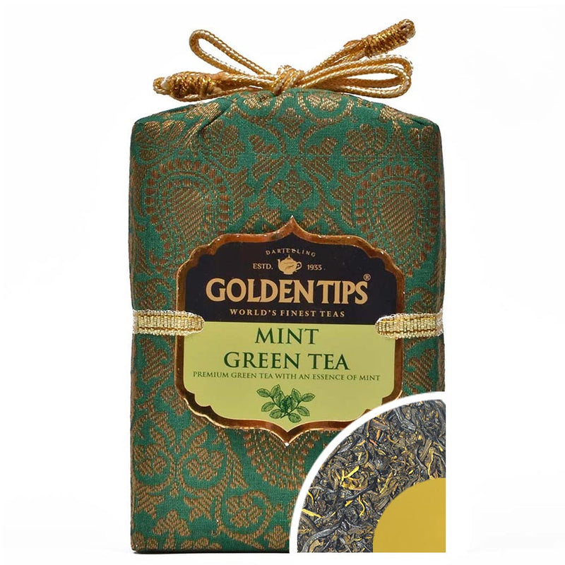Mint Green Tea - Royal Brocade Cloth Bag - Golden Tips