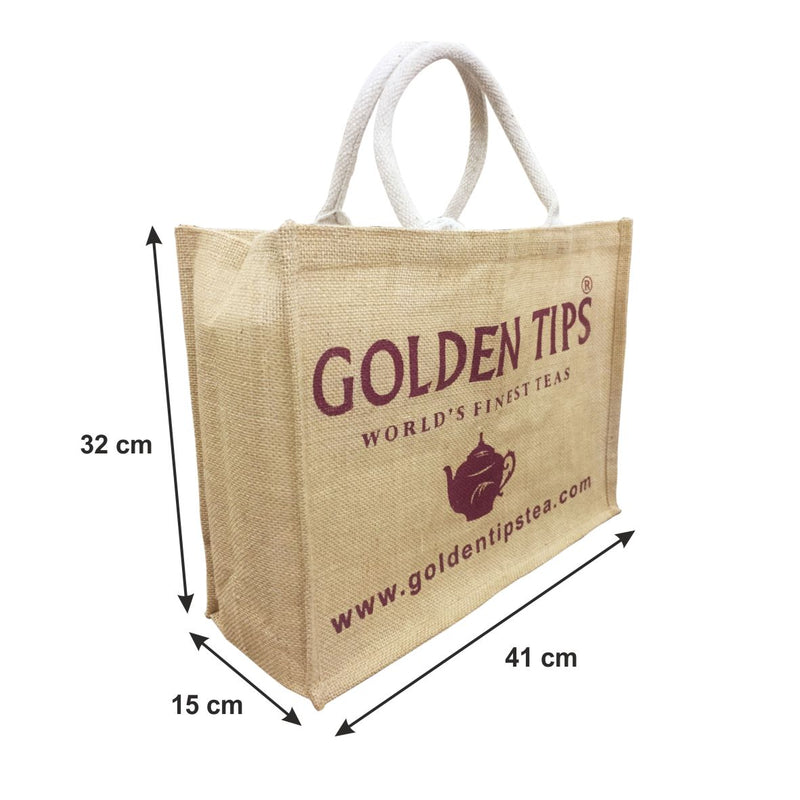 Set of 2 (two) Golden Tips Printed Multipurpose Jute bags / Gift bags (32x15x41 cm)