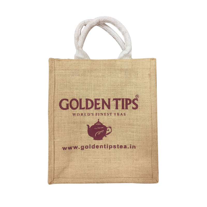 Set of 2 (two) Golden Tips Tea Printed Multipurpose Jute bags / Gift bags (31x28x9 cm) - Golden Tips
