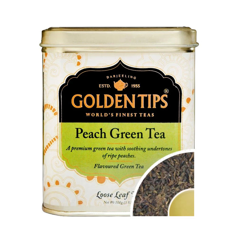 Peach Green Tea Tin Can (100gm) - Golden Tips